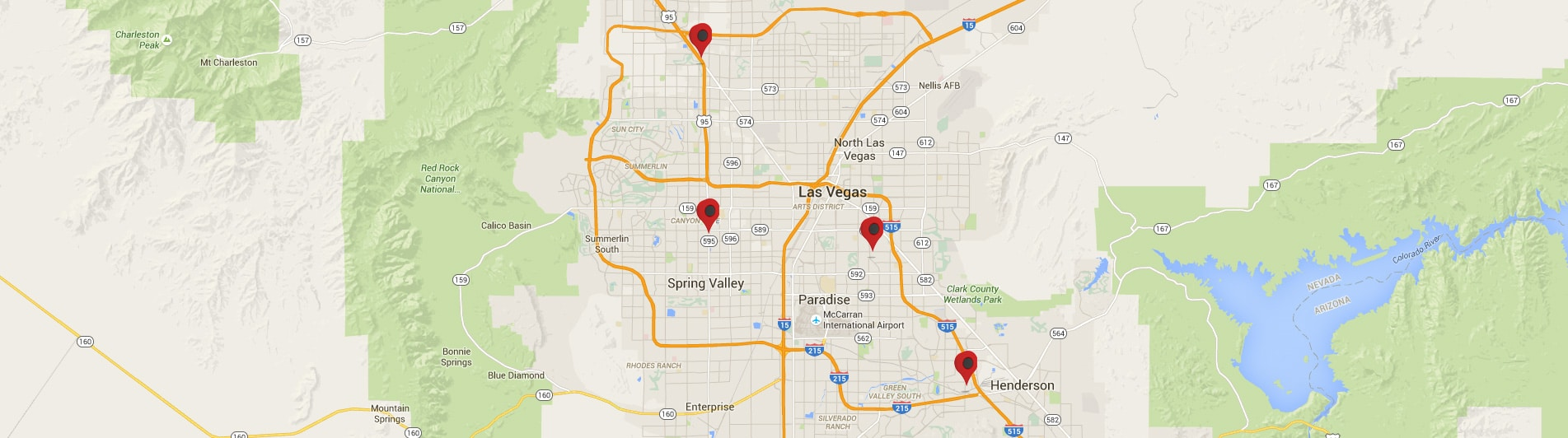 Google map of the Las Vegas area with markers for all of the USA Money Today title loan locations