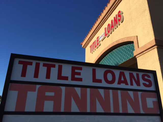 USA Money Today Title Loans North Las Vegas location marquee sign