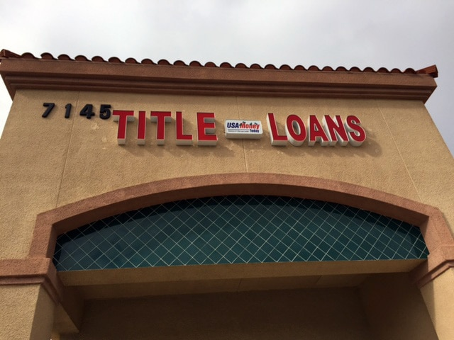 USA Money Today Title Loans North Las Vegas location main sign