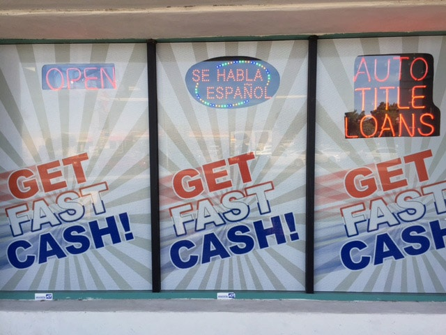 USA Money Today Title Loan location in West Las Vegas exterior signage