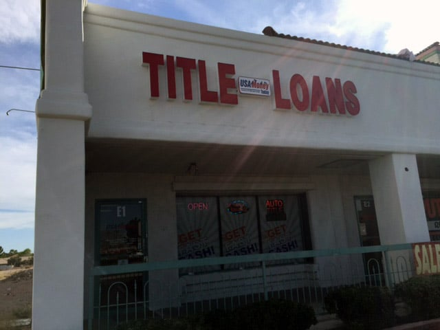 USA Money Today Title Loan company in West Las Vegas main sign