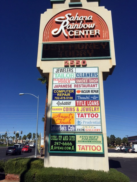 USA Money Today Title Loan Company in West Las Vegas marquee sign
