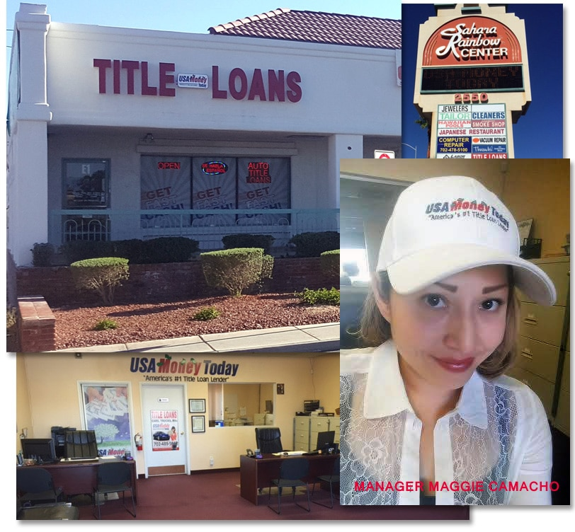 Pictures of office and manager of USA Money Today title loan company in Enterprise, Nevada
