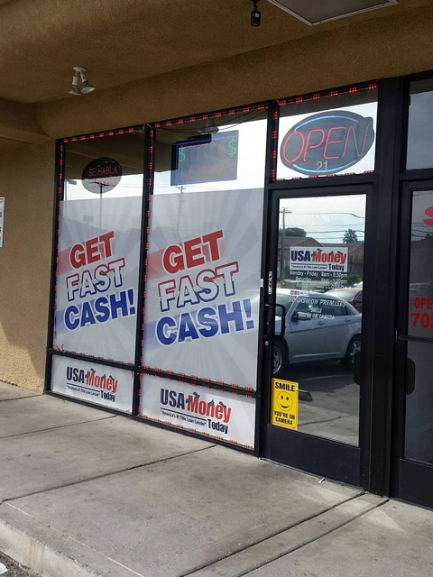 USA Money Today Title Loans East Las Vegas location exterior front store pictures