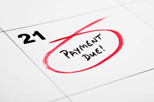 payment due marked on calendar